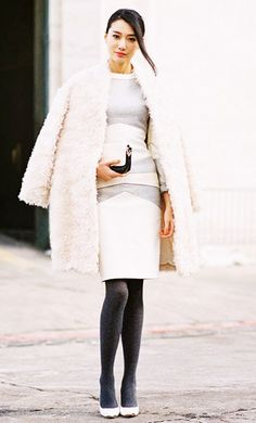 For colder months pair tights with a dress and add a faux fur coat to add instant flair.