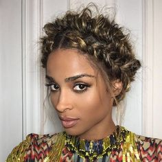 Ciara- goddess braid Goddess braids from the are back in style and BETTER than ever! Check out our top 15 picks of the Goddess Braids around the internet! Lob Hairstyle, Braided Hairstyles, Curly Hair Styles, Natural Hair Styles, Braided Updo, Braided Crown, Braid Ponytail, Crown Braids, Braid Hair