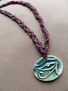 Hemp Necklace Eye of Horus  Egyptian by PerpetualSunshine111, $20.00
