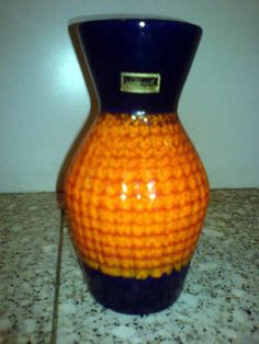 Vase 60er 70er Scheurich orange blau Mid Century
