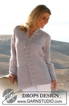 "DROPS jacket in ""Alpaca"" with stripes in textured patterns. Size S – XXXL ~ DROPS Design"