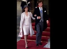 Prince Willem-Alexander & Maxima's Wedding Guests (February 2, 2002): Princess Caroline of Monaco is escorted by her husband Prince Ernst August of Hannover