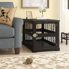 Archie & Oscar™ Archie Slide Aside Pet Crate & Reviews | Wayfair Crate End Tables, Dog Crate Furniture, Furniture Ideas, Puppy Crate, Puppy House, Dog Rooms, Online Pet Supplies, Training Your Puppy, Doge