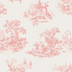 Brewster - Brewster Pink Vintage Toile Wallpaper - The pattern is a classic,but this is not your grandmother's wallpaper. This vintage toile wallpaper from Brewster depicts country-inspired scenes in a soothing,pink-on-white color scheme. Each solid-sheet vinyl panel measures 20.5 inches x 33 feet.