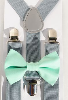 SET Kids Children Toddler Baby Boys Boy Light Gray Suspenders & Pastel Mint Cotton clip on bow tie Bowtie Wedding Birthday  by MelodyOfCuteness, $8.00