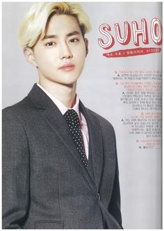 ♥ Suho | Exo Blonde Suho is the image of a prince