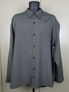 "Up for sale is VTG 90s Guess Men's Button Down Black Checkered Dress Shirt - XL. Chest 27"". Shoulder 23"". 