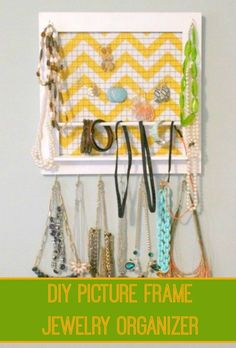 Organize your jewelry in plain sight with this DIY picture frame organizer