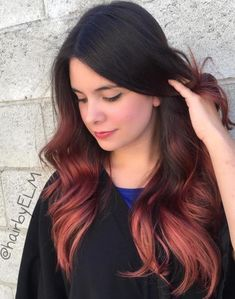 40 Vivid Ideas for Black Ombre Hair Sunset Red Ombre on Dark Hair Black Hair Ombre, Best Ombre Hair, Blonde Ombre, Pink Hair, Brown To Red Ombre, Black To Red Hair, Pastel Hair, Green Hair, Red Purple
