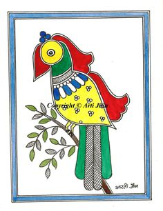 Parrot/handmade Madhubani greeting cards/Cards for all occasions/Colorful cards/Blank inside/ Envelope/Peacock/Ethnic cards by ArtsyArti on Etsy