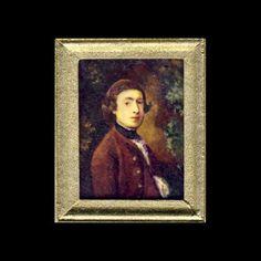 Dolls House Portrait Thomas Gainsborough | Kay Burton Artist Thomas Gainsborough, Miniature Paintings, Gold Wood, Frame Sizes, Mona Lisa, Oriental, Miniatures, Dolls, Portrait