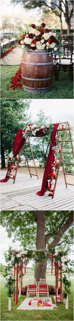 40 Fall Red Wedding Ideas We Actually Like / http://www.deerpearlflowers.com/fall-red-wedding-ideas/ - red floral wedding ceremony party planning with outdoor setting and floral details