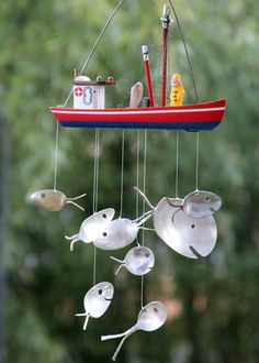 Moby Dick  Upcycled & Antique Spoon Fish Windchime by nevastarr, $89.95