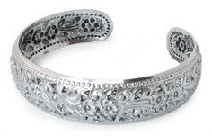 Unique Floral Sterling Silver Cuff Bracelet