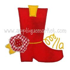 Customize any girls' clothes with Applique Market's great selection. Show your girl's interest in flowers with these colorful boot flower appliques
