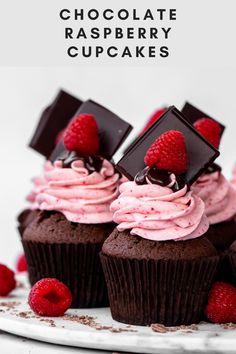 Raspberry Filled Cupcakes, Raspberry Cupcake Recipes, Chocolate Raspberry Cupcakes, Raspberry Buttercream, Chocolate Sponge, Vegan Chocolate, Chocolate Ganache, Vegetarian Chocolate, Basic Butter Cookies Recipe