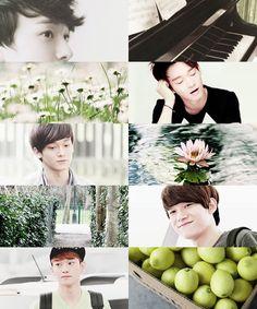 Exo as months Chanyeol Baekhyun, Park Chanyeol, Exo Exo, Aesthetic Collage, Kpop Aesthetic, Kai, 5 Years With Exo, Exo Lockscreen, Exo Korean
