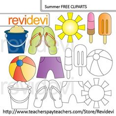 A collection of summer clip art. Free resource for teacher author seller. This summer clipart set features ice cream, the sun, flip flop, bucket, ball, and a short. Outline graphics (line art) is included in this set. YOUR RATING and COMMENT is highly appreciated.