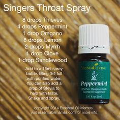 Throat spray, singer