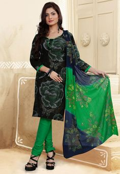 Get a #stylish update when you wear this Black-Green Color Cotton Designer #SalwarKameez which is accompanied with a matching bottom and printed dupatta. The suit features gorgeous floral prints.