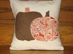 Brown Suede & Orange Pumpkin Pillow by DesignsEmJ on Etsy, $17.00