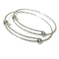 Bulk Lot 50 pcs Stainless Steel Engraved Glitter Mark Adjustable Wire Bangle Bracelet 3 Loops Wrap Expandable Silver Tone by VogueStuffs on Etsy