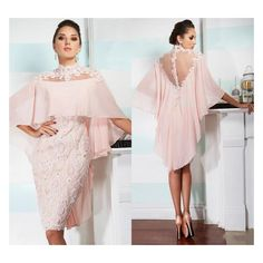 Pink High Neck with Wraps Sheer Back Lace Sheath Knee Length Party Beaded Appliques vestidos Mother of the Bride Dresses Evening Dresses Plus Size, Lace Evening Dresses, Evening Gowns, Simple Cocktail Dress, Knee Length Cocktail Dress, Cocktail Dresses, Bride Groom Dress, Bride Gowns, Pink Prom Dresses