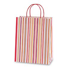 10 1/2W x 13H x 5 1/2G Large Printed savvy hot pink rosey lines Gift Bag/Case of 60