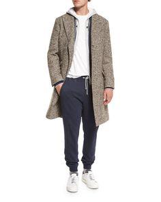 -6UCR Brunello Cucinelli  Baseball-Collar Zip-Up Sweatshirt, Blue Cashmere-Blend Zip-Up Hoodie, Light Gray Drawstring Jersey…