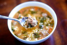 Italian Wedding Soup    Nutrition Information  Serves:10 servings    Calories:330,   Fat:11 g, Carbohydrates:27 g, Sodium:700 mg, Fiber:4 g, Protein:29 g Cholesterol:95 mg