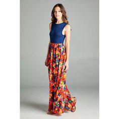 Tea n Rose Solid Bodice Bubble Crepe Floral Bottom Maxi Dress