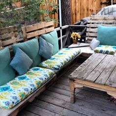 New pallet furniture for summer! Cushions from Cost Plus World Market #diy #palletfurniture #wrightwood