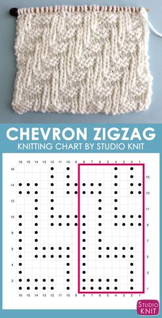 Chevron Zigzag Stitch Knitting Chart with Free Written Pattern and Video Tutoria. Chevron Zigzag Stitch Knitting Chart with Free Written Pattern and Video Tutorial by Studio Knit charts patter. Knitting Stiches, Knitting Charts, Loom Knitting, Knitting Socks, Knitting Patterns Free, Baby Knitting, Stitch Patterns, Free Knitting, Knit Stitches