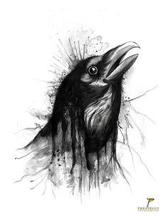 """""""La gente creía que cuando alguien muere, un cuervo se llevaba su alma a la tierra de los muertos,  pero a veces, algo malo ocurre, y acarrea una gran tristeza,  y el alma no puede descansar en paz.  Y a veces, solo a veces,  el cuervo puede traer de vuelta el alma  para enmendar el mal."""" """"The Raven"""" #raven #crow #watercolor #illustration #brush #allanpoe #thecrow #jamesobarr #ilustracion #acuarela"""