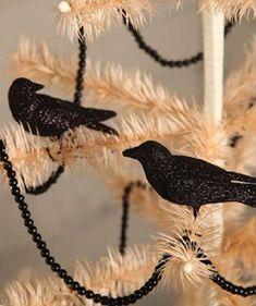 Bethany Lowe Halloween Glittered Crow Ornaments
