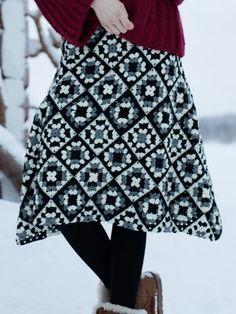 Nordic Yarns and Design since 1928 Square Skirt, Midi Skirt, Ballet Skirt, Beige, Crochet, Skirts, Pattern, Takana, Granny Squares