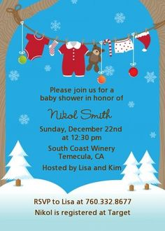 Clothesline Christmas Baby Shower Invitations | Candles and Favors