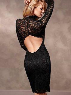 Nothing says oh-là-là like a little lace dress. / Victoria's Secret Open-Back Lace Dress