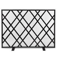 Threshold™ Lattice Fireplace Screen - Matte Black Finish 30.000 inches H x 7.800 inches W x 40.000 inches L $59.99