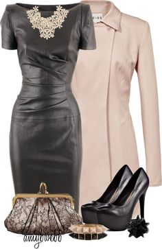 """Blush and Black 3"" by amybwebb ❤ liked on Polyvore"
