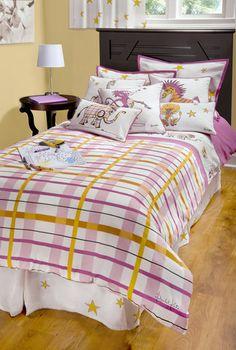 Girls Punk Animal Plaid Pink Full Size Comforter Bed Set