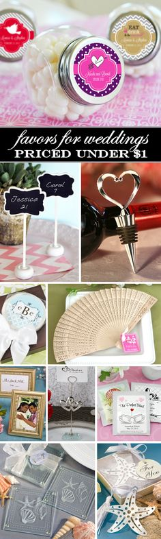 100 Affordable Wedding Favors that are priced under $1.  I love the heart bottle stoppers and the sandalwood fans....gorgeous and cheap!!