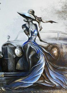 Original Canvas Painting in Art Deco Style Abstract Painting Art Deco Paintings, Dance Paintings, Old Paintings, Cool Art Drawings, Art Drawings Sketches, Images D'art, Art Et Illustration, Oeuvre D'art, Art Oil