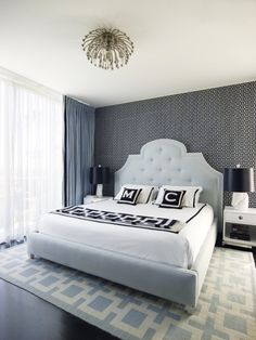 Greg Natale. Jonathan Adler. Soothing blue & gray, great headboard and rug