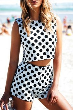 Black Polka Dot Sleeveless Crop Top + Shorts