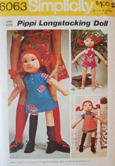 Simplicity 6063 Doll Pattern Pippi Longstocking Rag Stuffed Cloth  -  Uncut