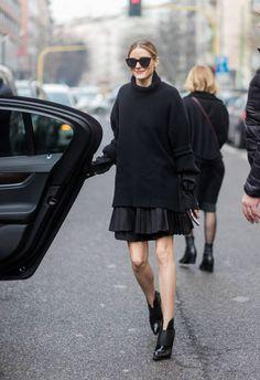 Olivia Palermo wearing black knit skirt outside Etro during Milan Fashion Week Fall/Winter 2017/18 on February 24 2017 in Milan Italy