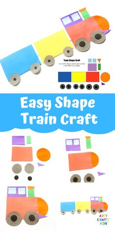 Make learning shapes fun with this Easy Train Shape Craft for Kids. With a printable template, this is a great shape activity for toddlers and preschoolers. Easy Preschool Crafts, Easy Arts And Crafts, Paper Crafts For Kids, Easy Crafts For Kids, Toddler Crafts, Science Crafts, Train Activities, Indoor Activities For Kids, Toddler Activities