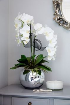 Orchids in a Silver Goldfish Bowl - Floral arrangements Orchid Flower Arrangements, Artificial Floral Arrangements, Orchid Centerpieces, Artificial Orchids, Flower Vases, Flower Pots, Vase Arrangements, Indoor Orchids, Indoor Flowers