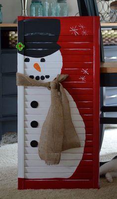 Rustic snowman shutter